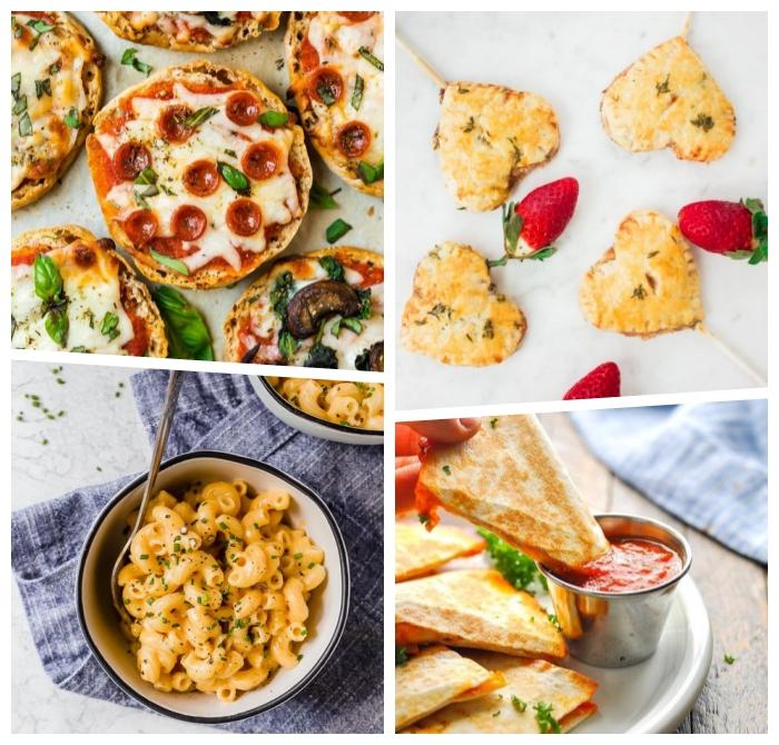 gesundes essen für kinder, pizzas mit permesan, prociutto und basilikum, pasta mit creme soße