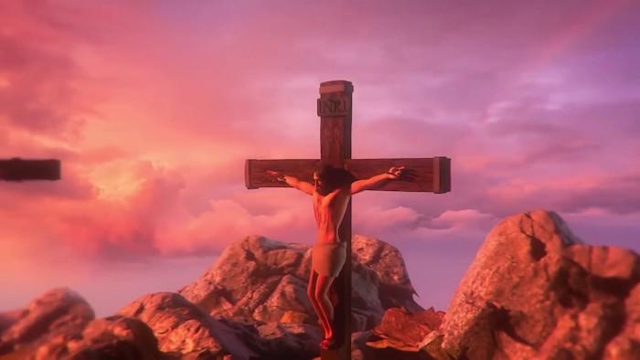 jesus christus, der am kreuz hängt, ein himmel mit vielen pinken und violetten wolken, sonnenuntergang, ein gameplay, i am jesus christ