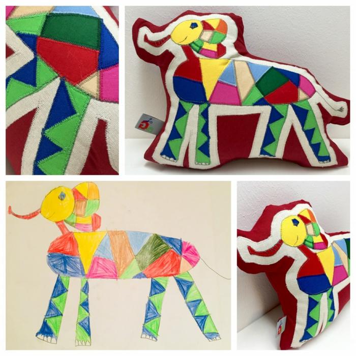 Geschenk für Oma basteln, Kinderzeichnung eines Elefanten in bunten Farben, Abdruck auf rotem Kissen