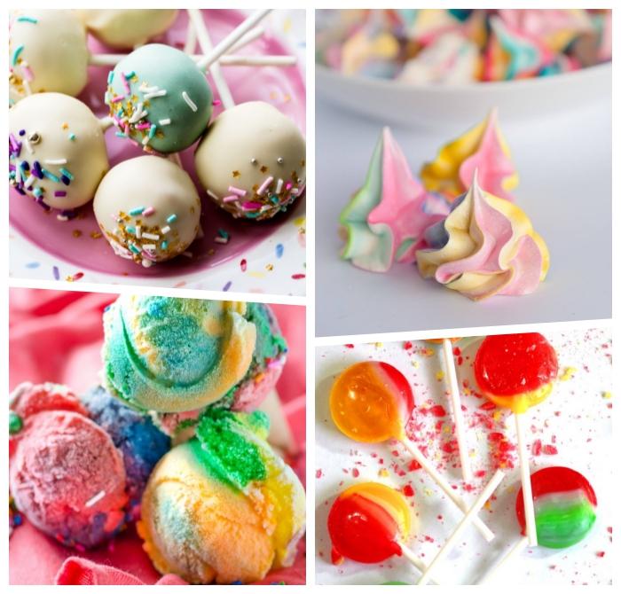 kochen für kleinkinder, kindergeburtstag essen ideen, cake pops selber machen, regenbogen meringuen