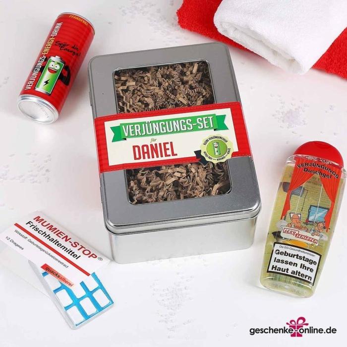 lustige Geschenke für Senioren, Duschgel und Energiedrink, Verjungungs-Set in Metallbox, Kaugummi mit lustige Beschriftung