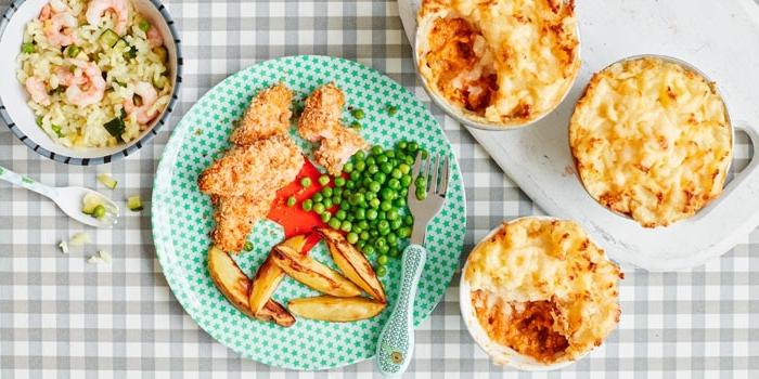 mittagessen für kinder, einfache gesunde rezepte für kleinkindern, fleisch mit erbsen und kartoffeln