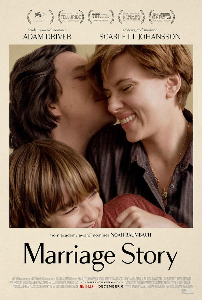 die schauspieler adam driver und scarlett johansson, offizieller poster ui dem film marriage story, die nominierten für golden globe awards
