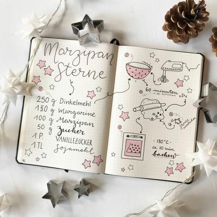 Geschenkideen für Oma, Handgeschriebenes Rezeptbuch, mit Zeichnungen von Mixer und Ofen und Teig, Dekoration mit Zapfen und Sterne, Oma ist die Beste