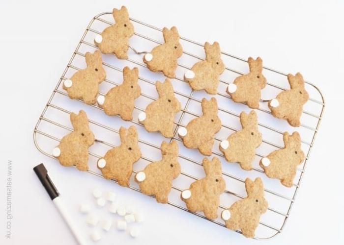 rezepte für kinder, gesunde plätzchen hasen, kleine weiße bonbons, kekse backen