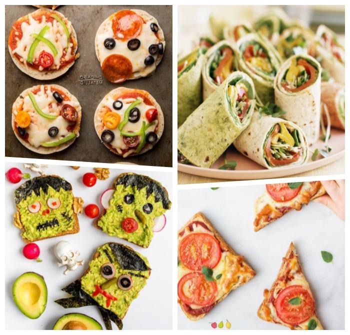 schnelle gerichte für kinder, enchilldas zubeeiten, mini pizzas mit cherry tomaten, oliven und käse