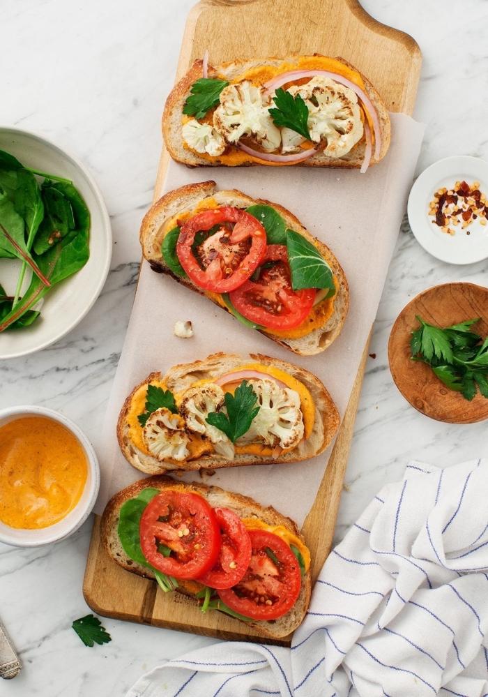 schnelle gerichte für kinderm sandwiches mit verschiedenen zutaten, gesund essen