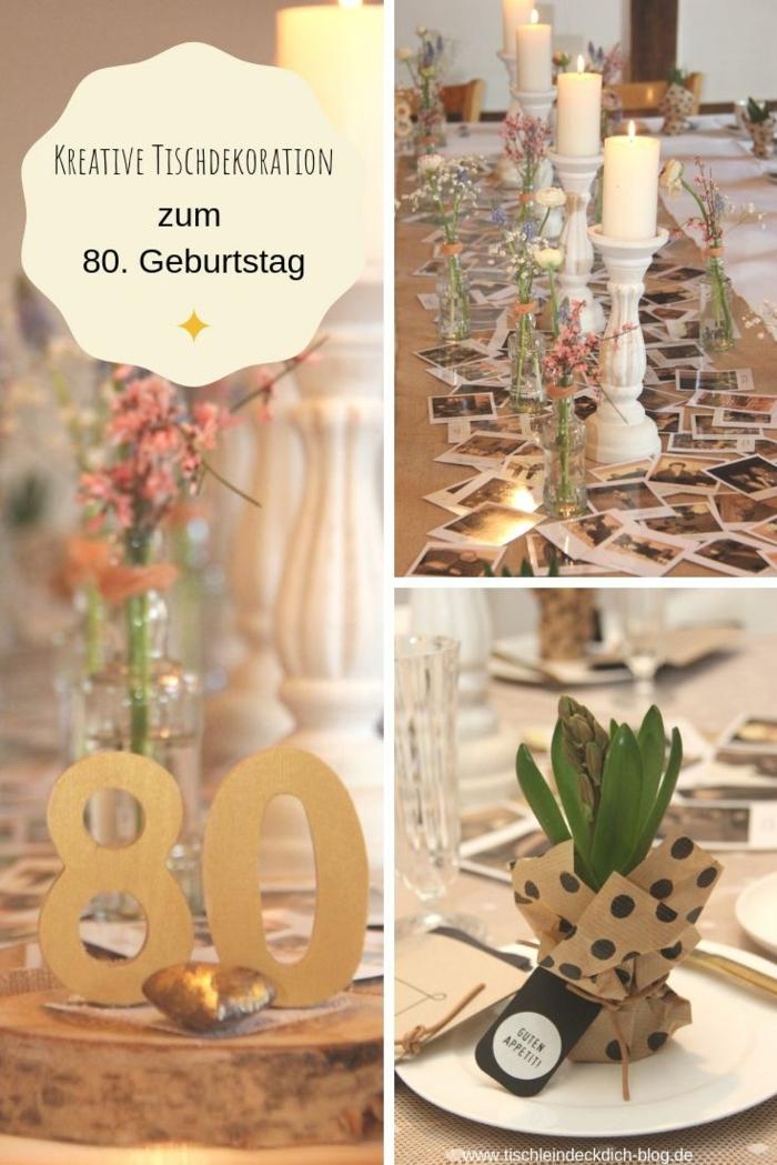 Geschenke zum 80 Geburtstag Oma, Tischläufer mit Familienfotos und Kerzen, Hyazinthen Dekoration, Vasen aus alte Flaschen mit Blumen