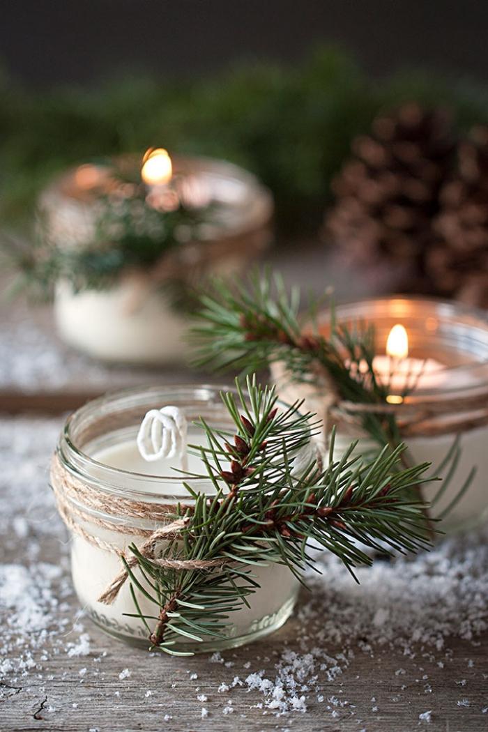 weihnachtsdeko selber machen, kleine einmachgläser, duftkerzen mit ätherischen ölen, kerzen gießen
