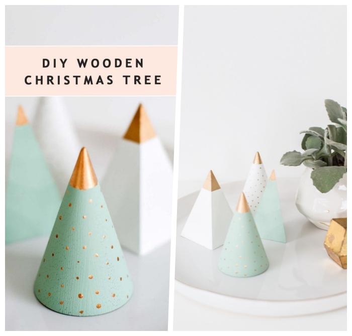 weihnachtsdeko selber basteln, kleine weihnachtsbäume aus holz, moderne selbstgemachte tischdeko