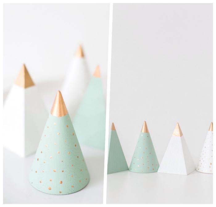 weihnachtsdeko selber basteln ideen und anleitungen, kleine tannenbäume aus holz