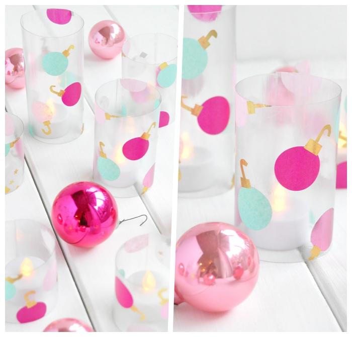 weihnachtsdeko basteln für den tisch, farbenfrohe teelichthalter dekoriert mit bunten weihnachtskugeln aus seidenpapier