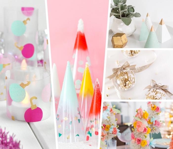 weihnachtsdeko basteln für den tisch, konfetti weihanchtsbäume, wiehnachtliche tischdeko