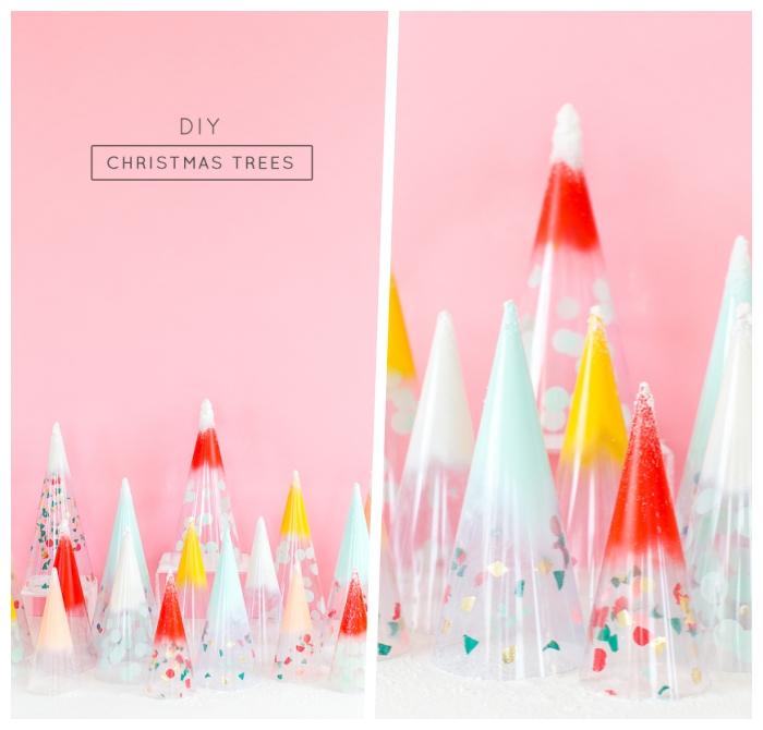 weihnachtsdeko basteln für den tisch, tischdeko zu weihnachten, konfetti weihnachtsbäume selber machen