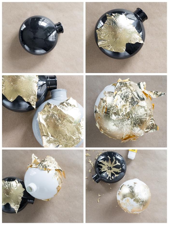 weihnachtsdeko basteln für den tisch, weihanchtskugeln mit blattgold dekorieren, diy anleitung