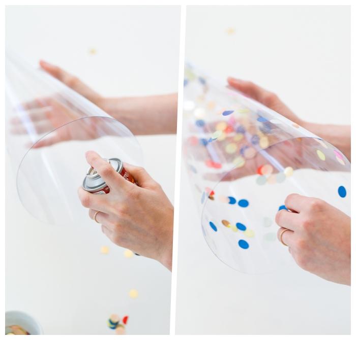 weihnachtsdeko selber basteln, schritt für schritt anleitung, tannenbäume aus plastik mit konfetti dekoreiren