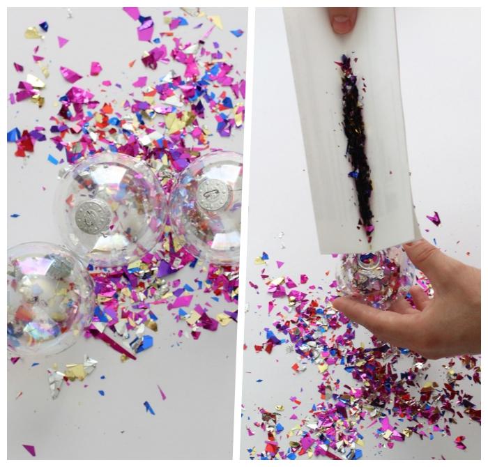 weihanchtsdeko selber machen, konfetti weihnachtskugel diy anleitung, bastelideen zu weihnachten
