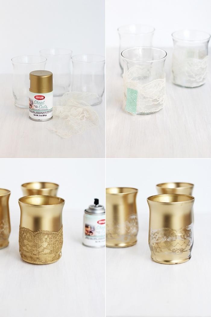 weihanchtsdeko selber machen, teelichthalter mit goldener farbe dekorieren, weiße spitze, diy