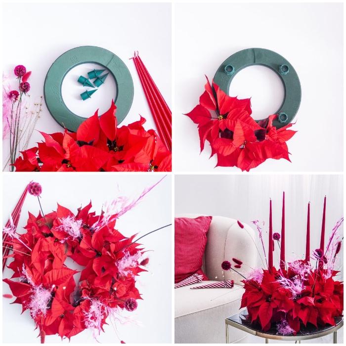 weihanchtsbasteln anleitungen, kranz aus plastik, rote blüten, weihnachtsstern blätter