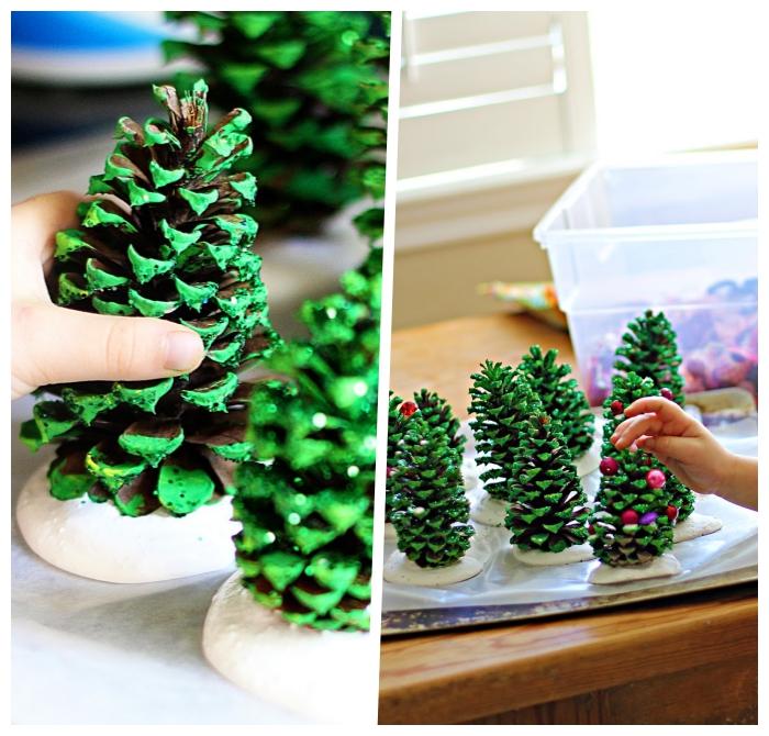 weihanchtsdeko ideen, tannenzapfen färben, weihnachtsbasteln anleitungen, basteln mit kindern