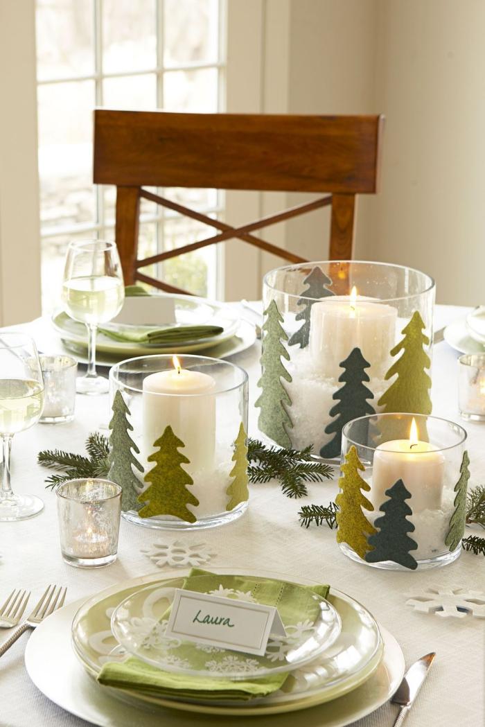 weihnachtliche tischdeko, kerzenhalter aus glas, weihanchtsbasteln anleitungen, weiße kerzen