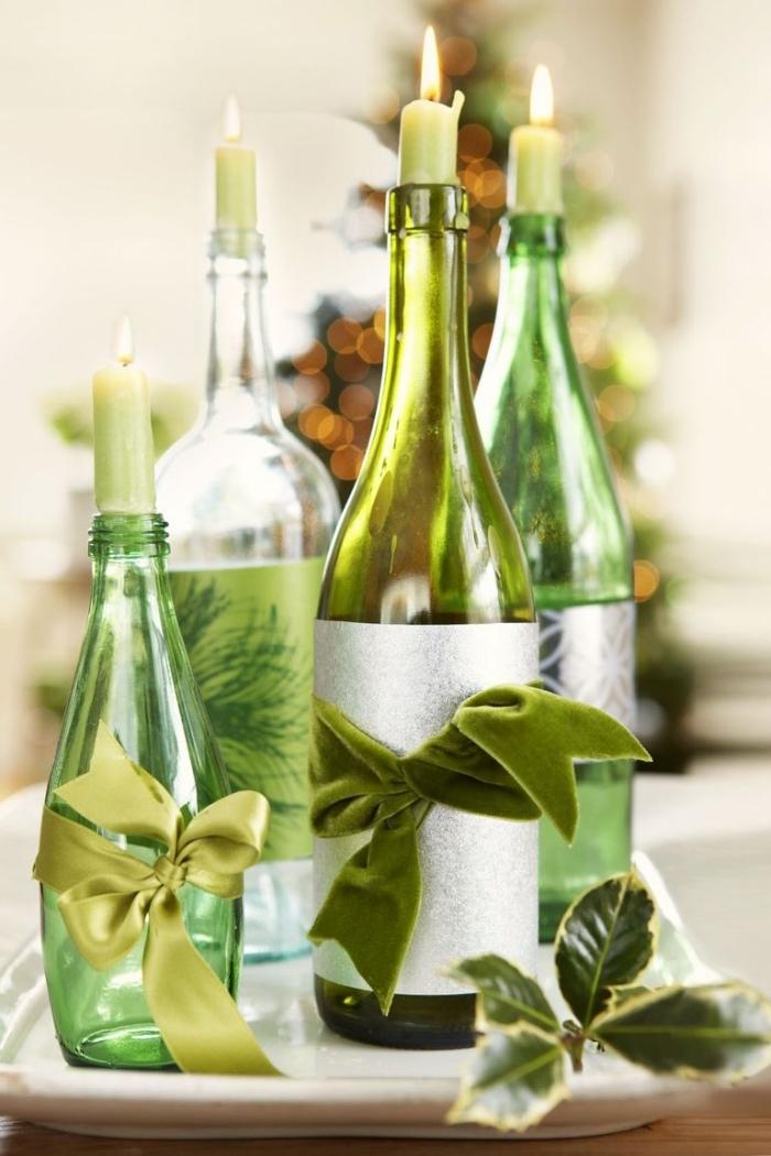 festliche tischdekoration, weihnachtsbasteln anleitungen, weihnachtliche tischdeko, grüne flaschen