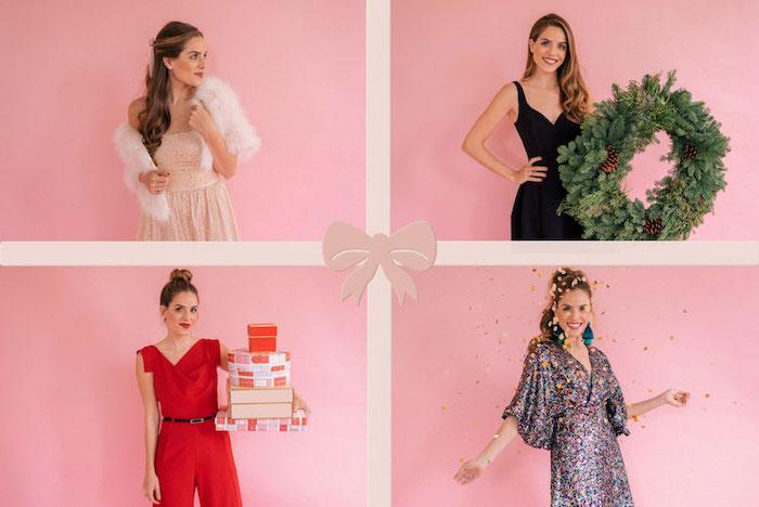 Vier Outfit Ideen für Weihnachten, A Linien Kleid in Beige mit Perlen, schwarzes Kleid mit V Ausschnitt, roter Jumpsuit, Glitzer Kleid