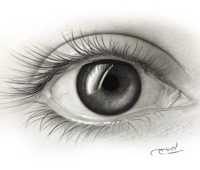 auge gezeichnet mit bleistift, bleistiftzeichnung in schwarz und grau, realitisches bild