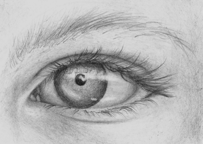auge gezeichnet mit bleistift, schritt für schritt anleitung, realitisch zeichnen lernen