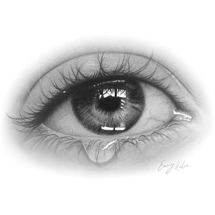 auge gezeichnet mit schwarzem bleistift, frauenauge mit träne, realistisch zeichnen