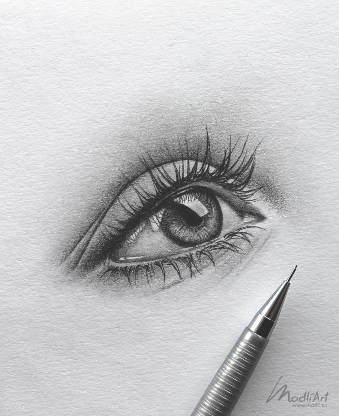 auge gezeichnet, realitische bleistiftzeichnung, frauenauge realitisch zeichnen, anleitung