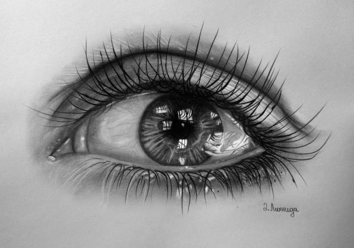 auge gezeichnet, bild zum nachzeichnen, realtiische zeichnung in schwarz und grau
