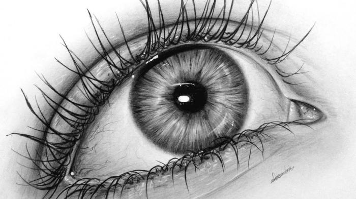 auge gezeichnet, zeichnen lernen mit bleistift, realitisches auge in schwarz grau