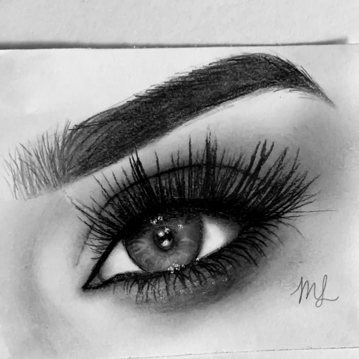auge zeichnen, realitische frauenauge in schwarz und grau, lange wimpern, bleistiftzeichnung