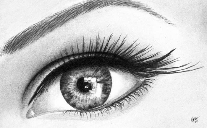 auge zeichnen lernen, schwarz graues bild zum nachzeichnen, frauenauge mit langen wimpern