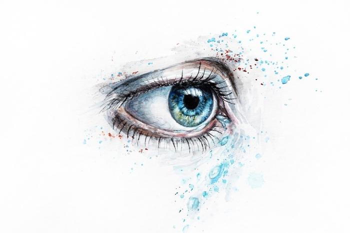 auge zeichnen, realitische farbige zeichnen, bilder zum nachzeichnen, blaue frauenauge