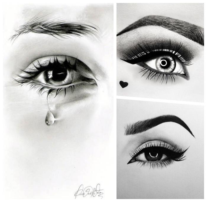 auge zeichnen, bilder zum nachzeichnen, zeichnungen mit schwarzem bleistift, frauenaugen
