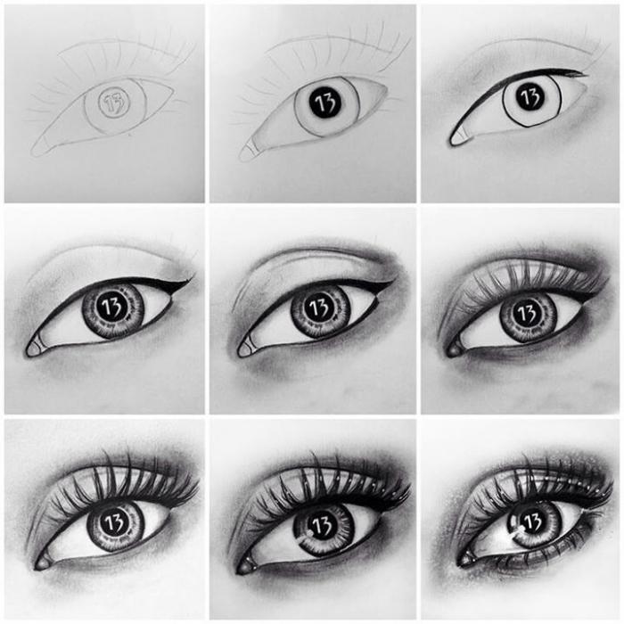 auge zeichnen schritt für schritt, realitische zeichnung in schwarz und grau, zeichnen lernen