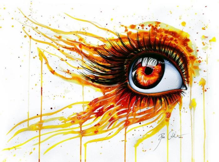 augen malen, abstraktes bild in orange und rot, frauenauge malen, was male ich heute