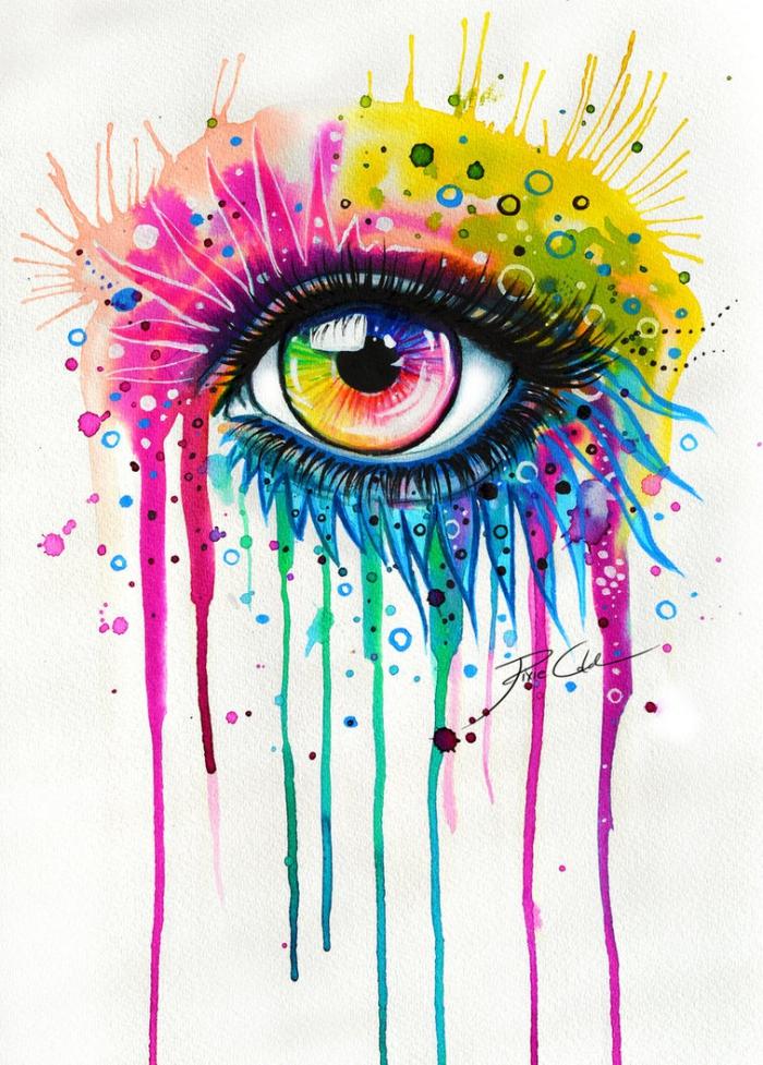 augen malen, abstraktes bild zum nachmalen in den regenbogenfarben, zeichnungsideen