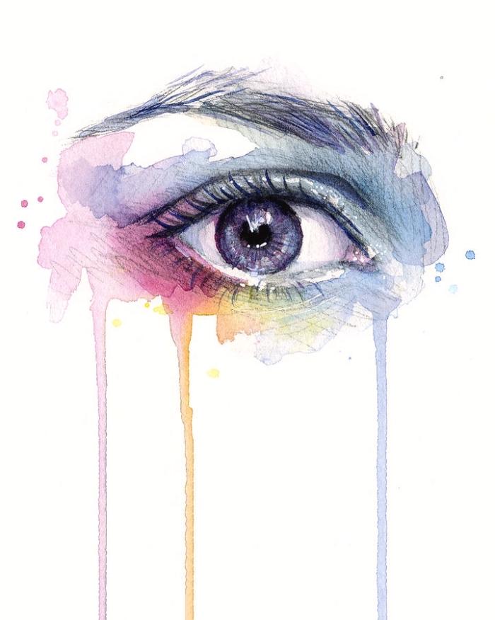 augen malen, farbiges bild zum nachmalen, realitisches frauenauge in den regenogenfarben