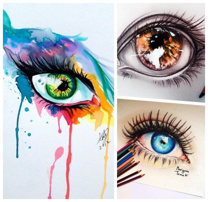augen malen ideen, farbige wasserfarben bilder zum ausmalen, frauenangen