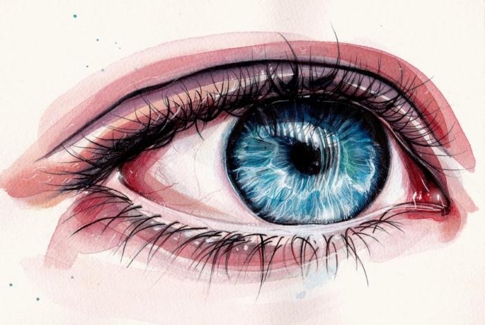 augen malen lernen schritt für schritt, blaue frauenauge, realitische zeichnung, ausmalbilder