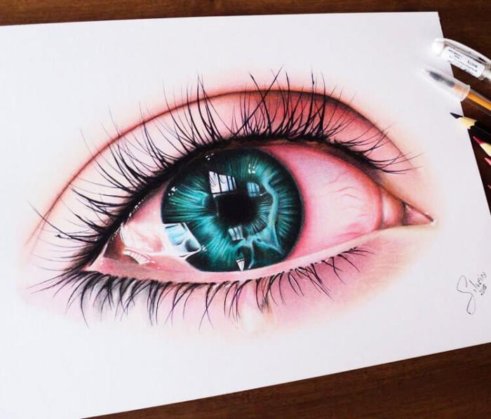 augen malen und zeichnen, blaue frauenauge gezeichnet mit wasserfarben und farbstiften