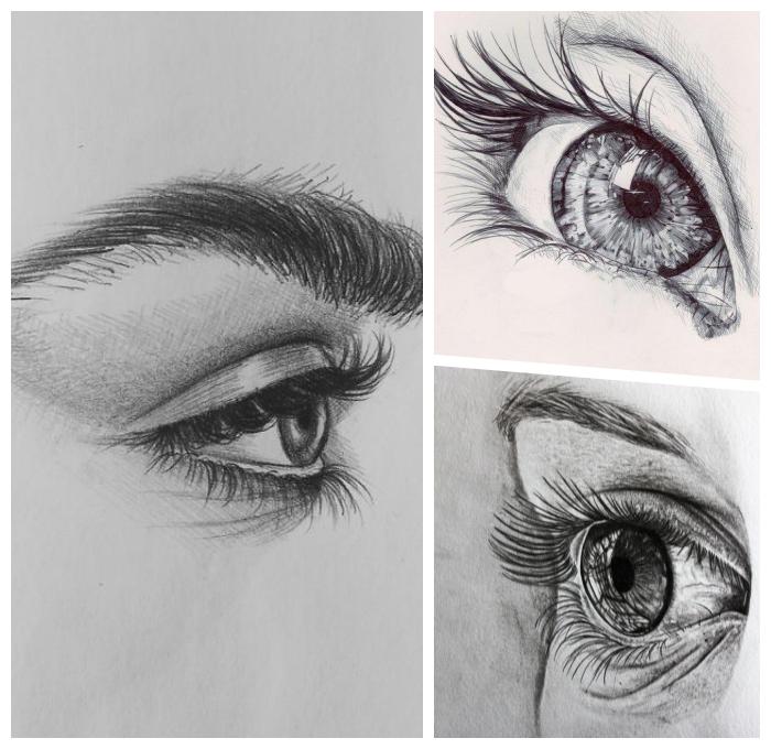 augen zeichnen schritt für schritt, bilder zum nachzeichnen, bleistiftsbilder in schwarz und grau
