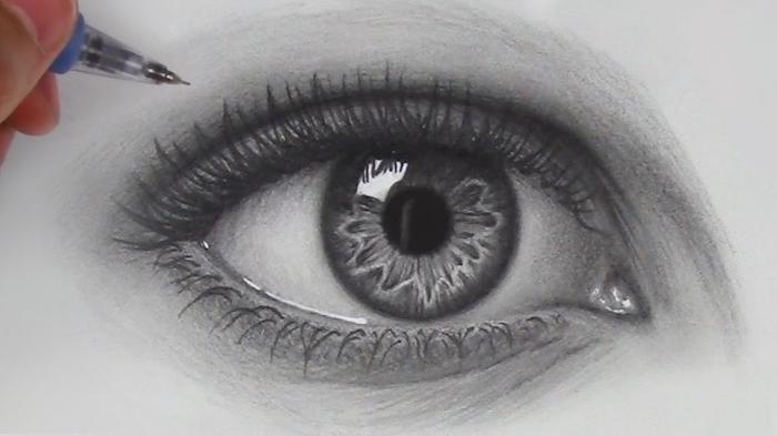 augen zeichnen schritt für schritt, realitische zeichnung in schwarz und grau, bilder zum nachzeichnen