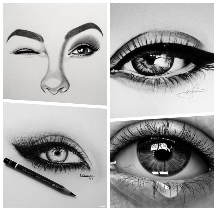 augen schminken, was kann ich heute zeichnen, schritt für schritt anleitung, realitische zeichungen
