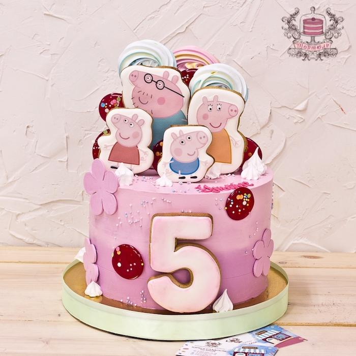 Ombre Torte mit Wutz Familie, Peppa Wutz Torte für Mädchen, rosafarbener Fondant mit Blumen