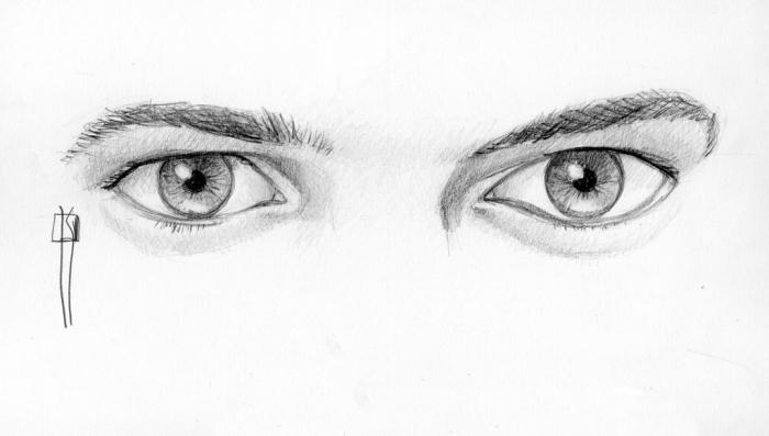 bleistift zeichnungen einfach. zeichnen lernen, realitische männeraugen, bleistiftsbilder