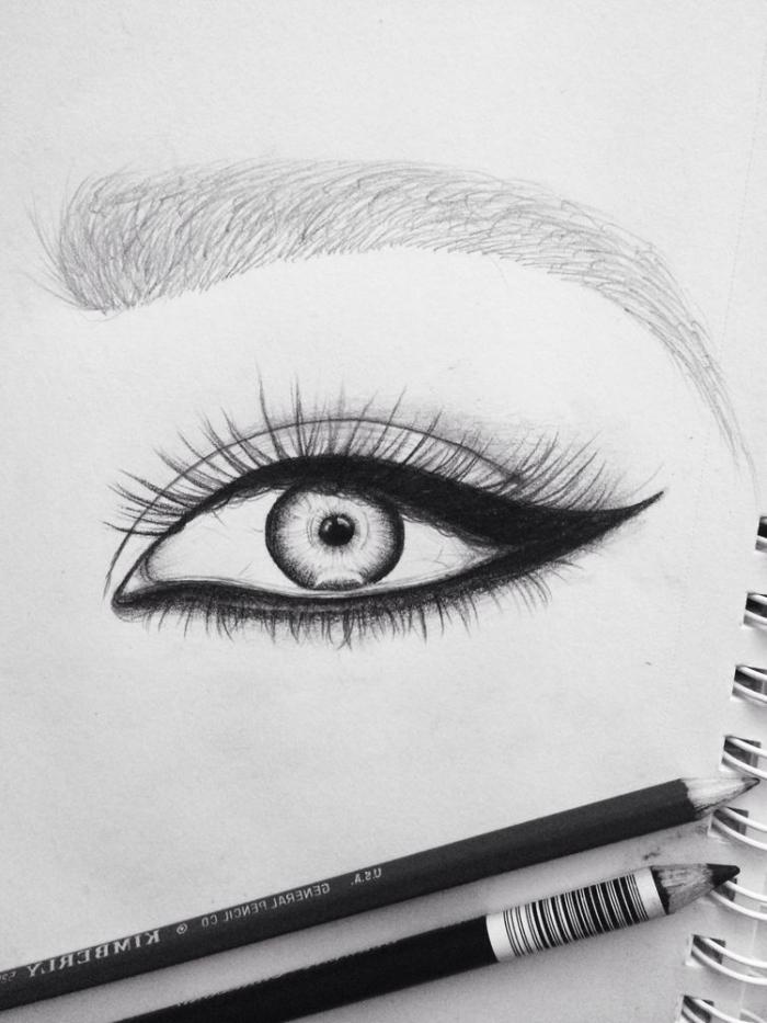bleistift zeichnungen einfach, frauenauge zeichnen, lange wimpern, bilder zum nachzeichnen